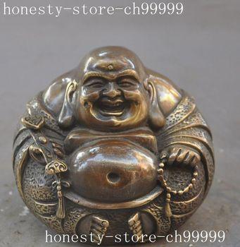 Crafts statue Old chinese buddhism bronze wealth ruyi happy laugh Maitreya Buddha statue