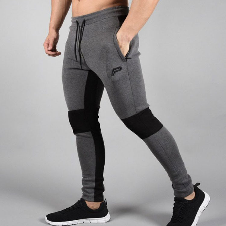 HOT 2019 Outdoor Muscle sport fitness men cotton splicing slim fit jogging Training GYM pants running breathable foot trousers in Trainning Exercise Pants from Sports Entertainment