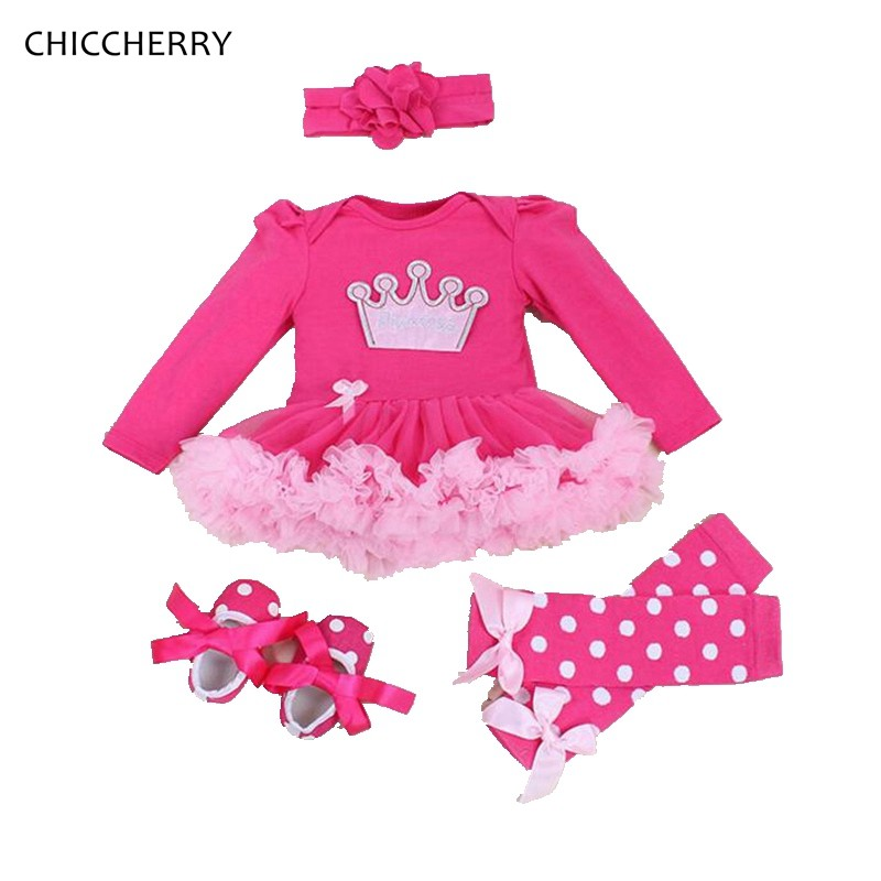Hot Pink Princess Crown Newborn Tutu Sets Winter Baby Girl Dress & Lace Headband Legwarmers Conjuntos De Menina Birthday Outfits crown princess 1 year girl birthday dress headband infant lace tutu set toddler party outfits vestido cotton baby girl clothes