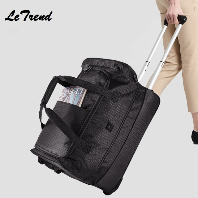 New Rolling Luggage 24 inch Extensible Backpack Travel Bag Casters Trolley Carry On Wheels Women Waterproof Multi-function Bag