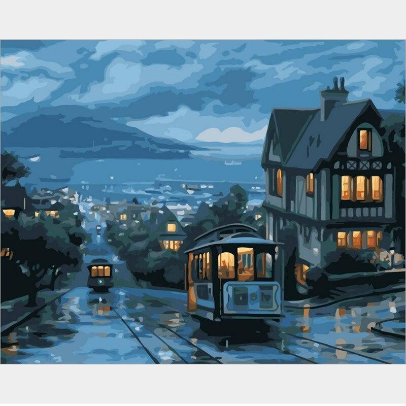 ₩Fantástico Marcos cuadros pintura por números DIY pintura óleo ...
