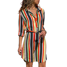 Summer Striped Turn Down Collar Casual Dress Sundress Vestido Dress Women Fashion Lace Up Knee Length Dress with Buttons 2019 new fashion women turn down collar three quarter sleeves casual striped button dress women belt striped knee length dress