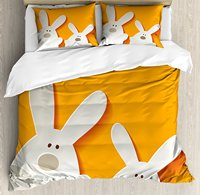Easter Duvet Cover Set Happy Easter Bunnies on a Warm Toned Background Abstract Animal Design, 4 Piece Bedding Set