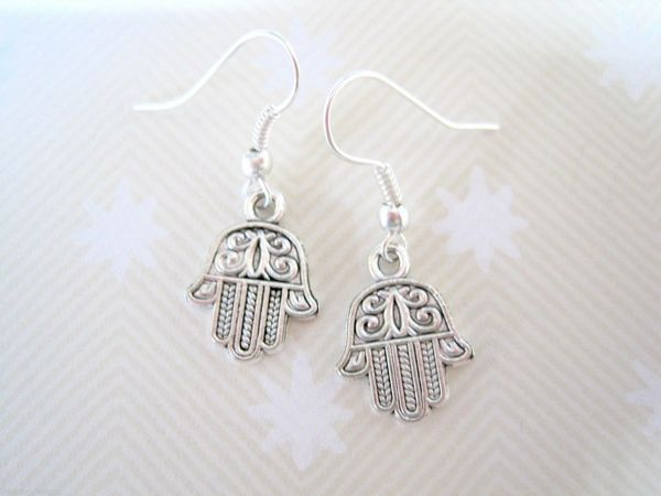 40pair *GOOD LUCK HAMSA HAND* SP TIbetan Silver Drop Earrings Kabbalah Wicca 32MM LK677