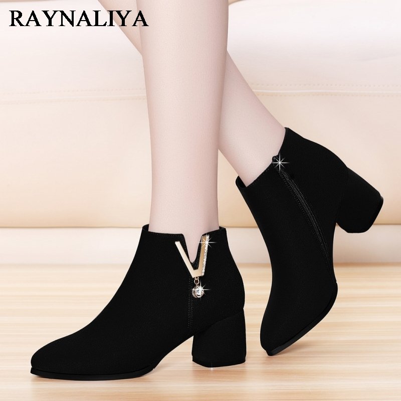 Ladies Zip Pointed Toe High Heels Women's Sexy Black Office Flcok Autumn Rubber Ankle Boots Female Solid Pumps Shoes YG-A0017 mcckle 2017 ladies fashion sexy autumn winter ankle boots female slip on zip black solid platform high heels plus size34 43