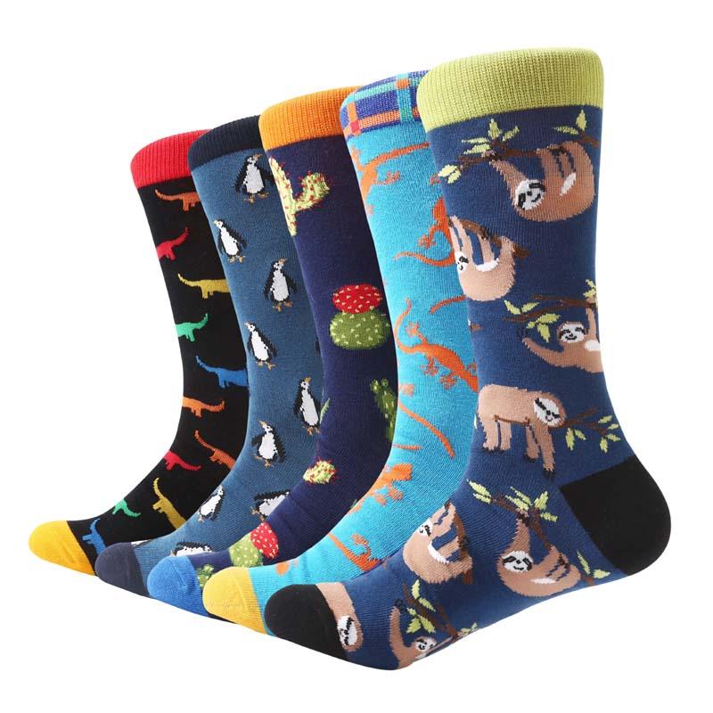 MYORED 5 pair/lot Men's   Socks   colorful combed cotton sleepy sloth cactus animal pattern   socks   wedding gift   socks   casual dress