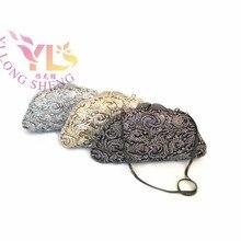 Vintage Rhinestone Clutch Evening Bags Women Rhinestone Flower Event/Party/Evening Clutches Bag  Gold Black Silver YLS-F63