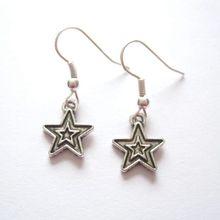 24pair *CUTE SMALL STAR* Charm Tibetan Silver Drop Earrings SP STARS Lightweight Gift 30MM LK794