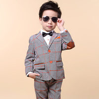 children clothing kids boys sets2016 spring boys gentleman suit kid's button plaid fashion cool boys sets kids blazer for boys