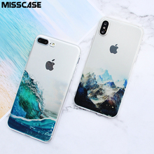 MISSCASE Phone Case for iPhone X 7 8 plus Landscape Painted Soft TPU Silicone Protective Cover