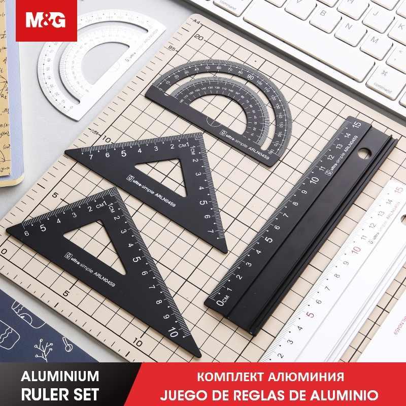 4pcs//set Aluminium Ruler Set Metal Geometry triangle Rulers student school tools