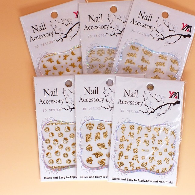 100pcs Promotion 2017 DIY Fashion Metal 3D Nail decals Hot Sale Gold and Silver Chrome Decoration Nail Art Sticker Free Shipping