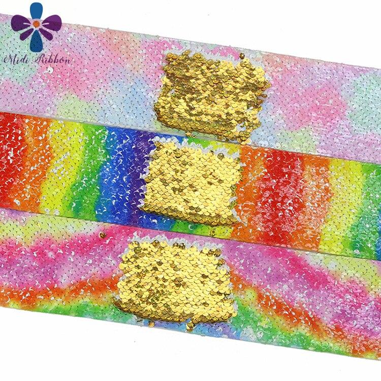 """3 """"75mm Arco Iris olas rayas Rosa Galaxy impreso Reversible doble holograma de lentejuelas oro cinta pelo bricolaje Bowknots 46 yardas-in Cintas from Hogar y Mascotas    2"""