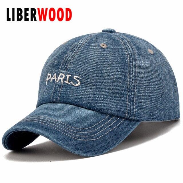 b620de3987c13 Denim Plain Solid Blue Jeans Style Classical PARIS Baseball Hat Cap Cowboy Dad  Hat Curved Bill Cap PARIS Distressed Vintage Look
