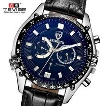 Marca de fábrica famosa de Los Hombres Mecánicos Relojes TEVISE Marca de Lujo Reloj Mecánico Dial Grande Reloj de Hombre Reloj Relogio masculino reloj