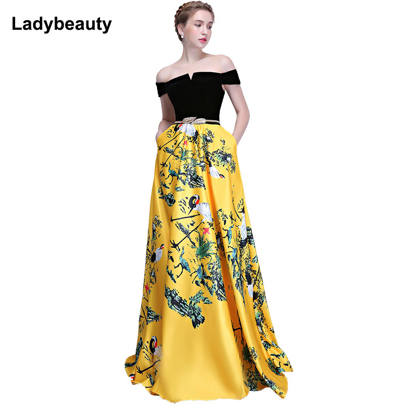 2018 New Flower Pattern Evening Dress Long Vintage Prom Party Dresses Evening Gown Women Formal Occasion Dress