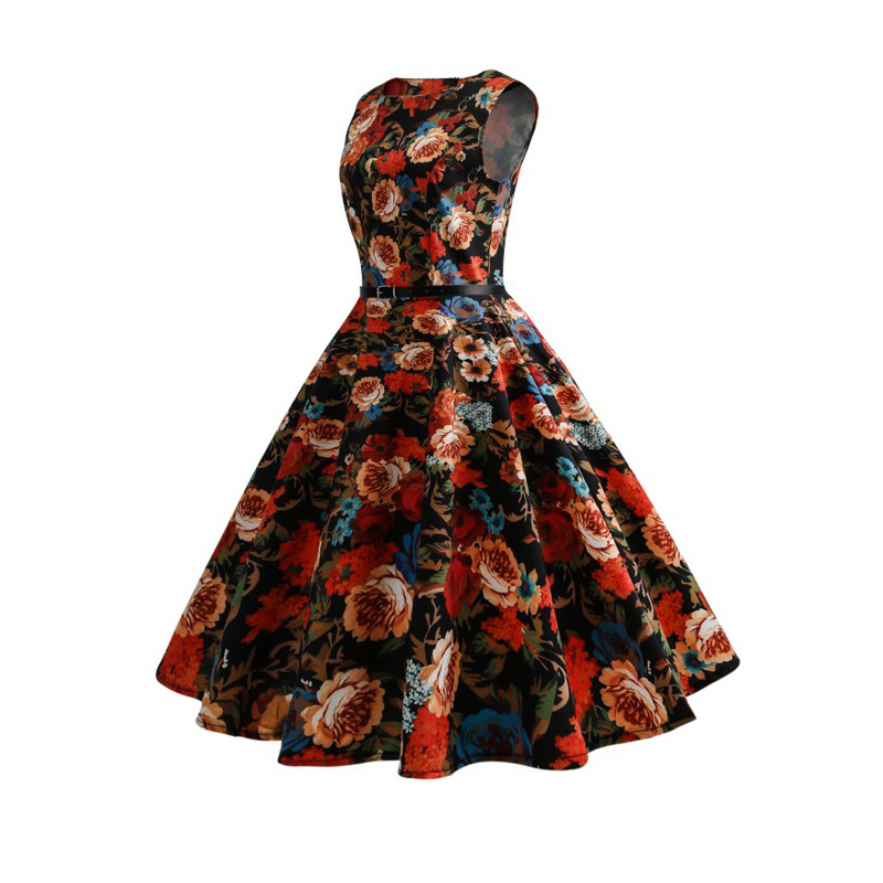 2019 Summer Robe Vintage 50s 60s Rockabilly Dress with Belt Sleeveless Pin up Big Swing Party Women Floral Printed Dresses