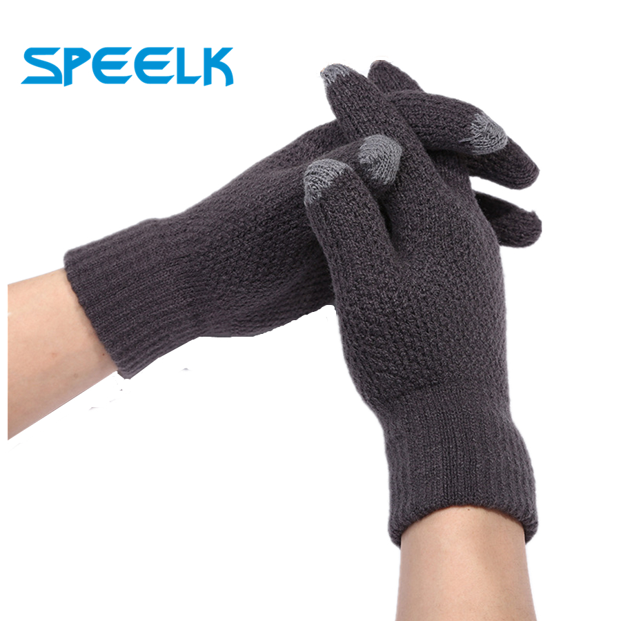 Winter Knit Gloves Men's Finger Touch Screen Gloves Autumn Outdoor Warm Riding Sunscreen Magic Gloves Male Velvet Mittens Glove