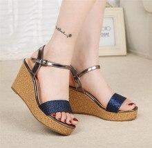 2017 New womens female summer style elegant royal blue gold glitter bling peep toe wedges high heels sandals lady sandal F8