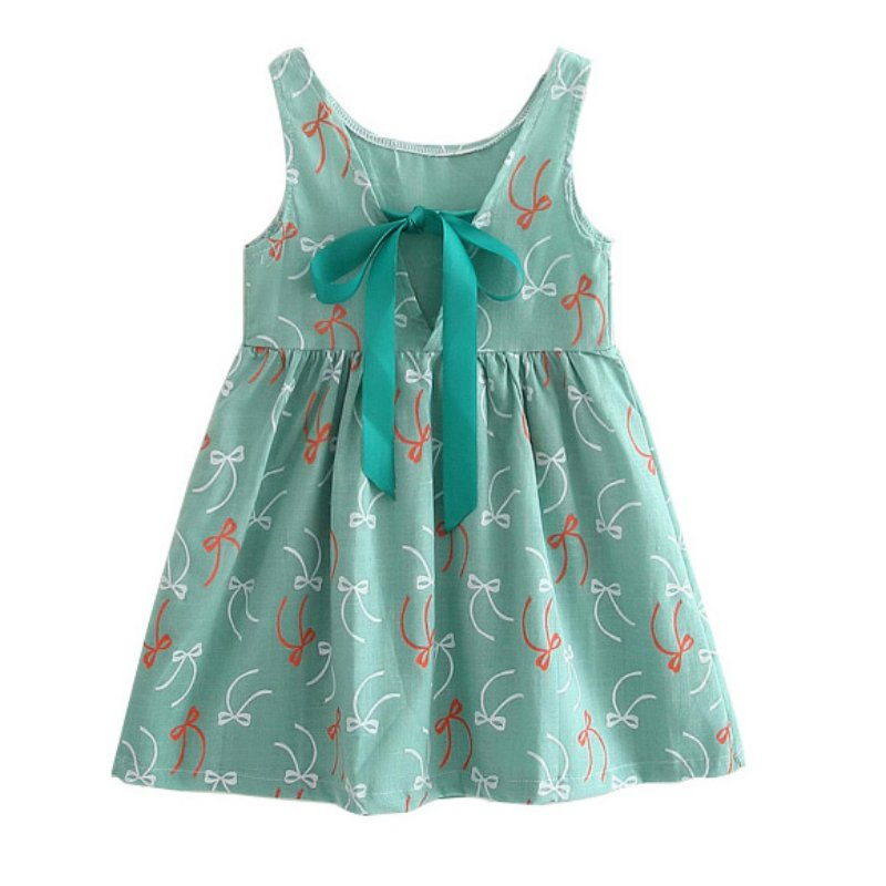 2017 Girl Summer Dress Kids Sleeveless Printing Pattern cotton Vestidos Children Clothes