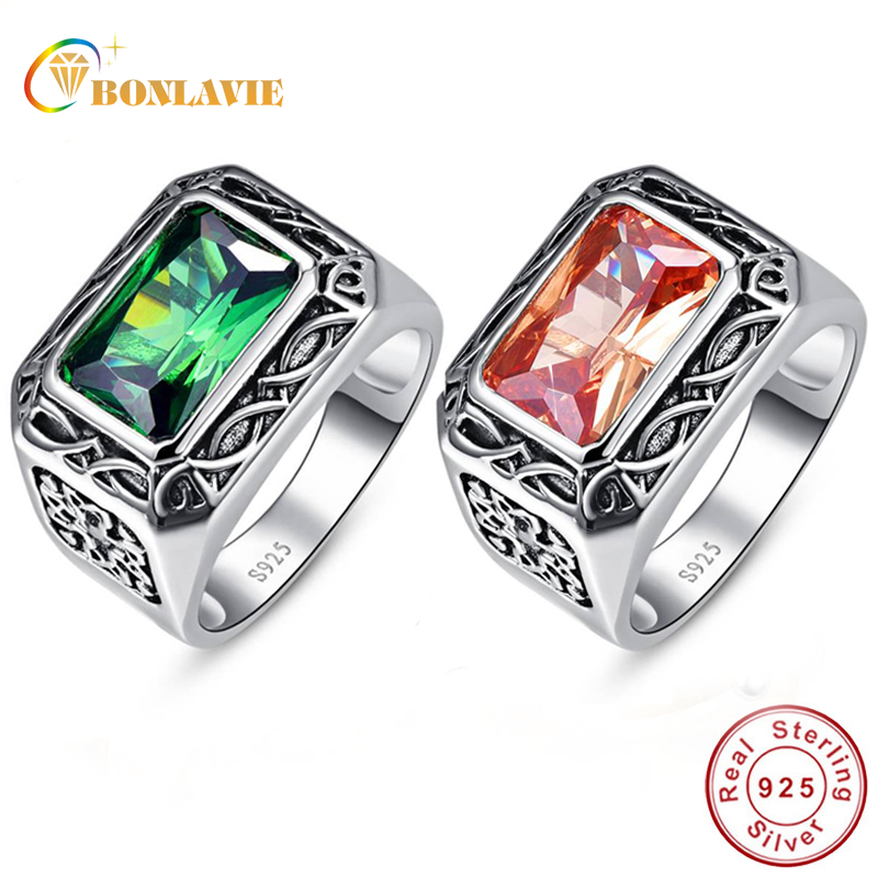 BONLAVIE 100% Pure 925 Sterling Silver Ring Vintage Men's Morganite Antique Square Nano Russian Emerald Rings Fine Jewelry Gift