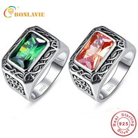 BONLAVIE 100% Pure 925 Sterling Silver Ring Vintage Men's Morganite Antique Square Nano Russian Emerald Rings Fine Jewelry Gift