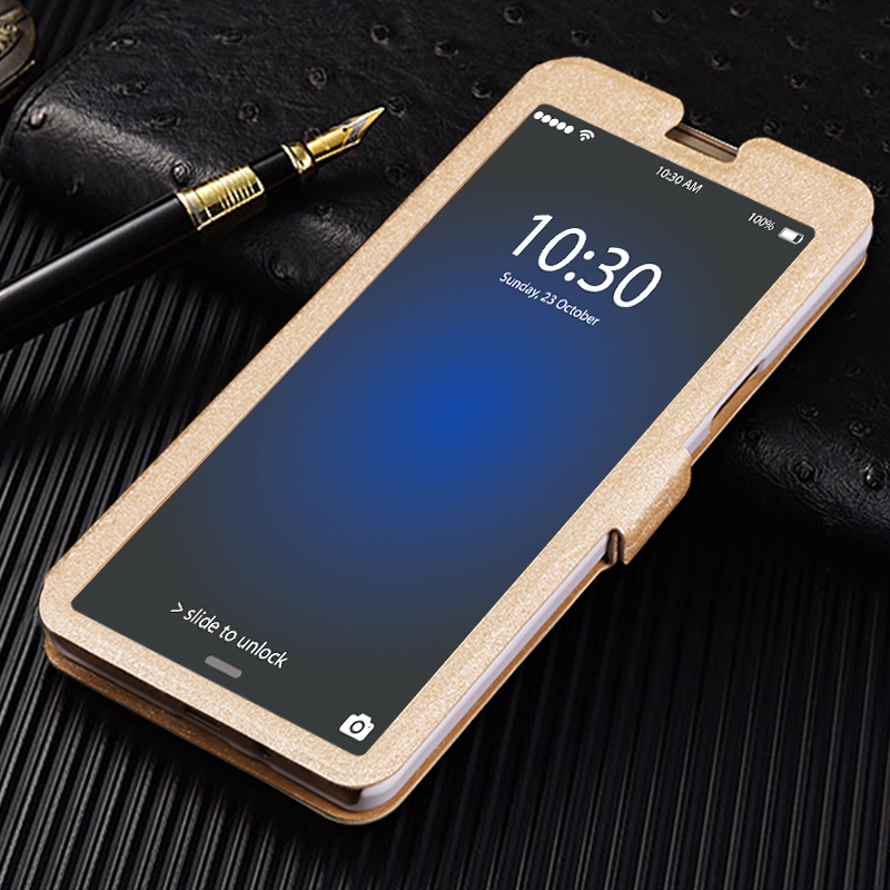 QIJUN Flip Cover For Samsung Galaxy J1 J2 J3 J4 J5 J6 J7 A3 A5 A7 2016 2017 2018 Luxury Stand Front Transparent View Window Case in Flip Cases from Cellphones Telecommunications