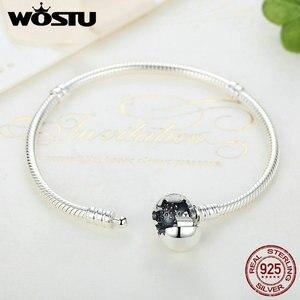Image 4 - Luxe 100% 925 argent Sterling étincelant coeur serpent chaîne ajustement Original bracelet à breloques & bracelet pour les femmes bijoux fins XCHS916