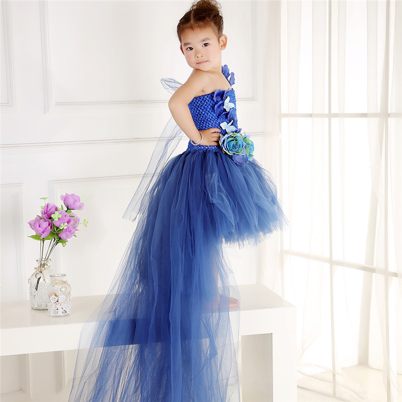 2-14Y Handmade Blue Girls Tulle Tutu Dress Long Trailing Princess Flower Girl Dresses Party Birthday Festival Wedding Dresses handmade princess girls rainbow tutu dress tulle flower girl dresses for party and wedding kids birthday dresses robe enfant