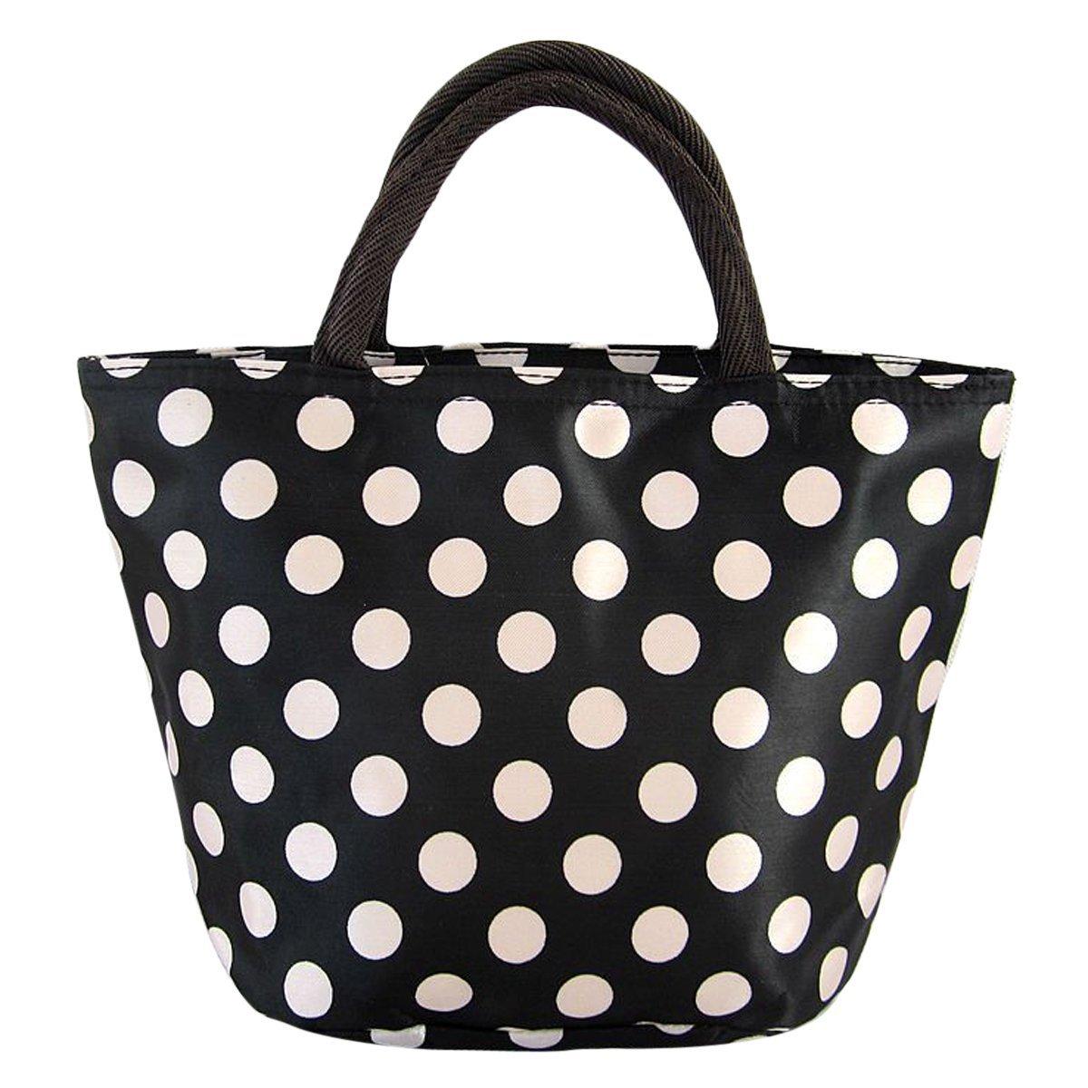 Waterproof Picnic Lunch Bag Case Tote Reusable Bags Travel Zipper Organizer Box Polka Dot Black White