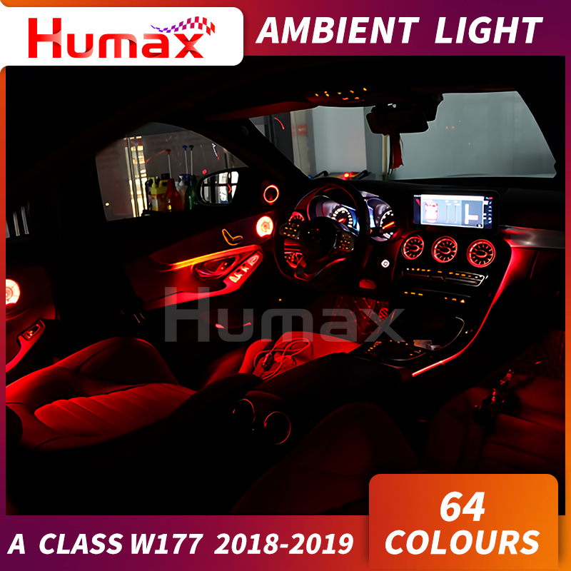 For A Class W177 A200 A300 LED Door Panel Ambient Lamp Atmosphere Lighting Center Console W177 LED Light 2019 Car Accessories