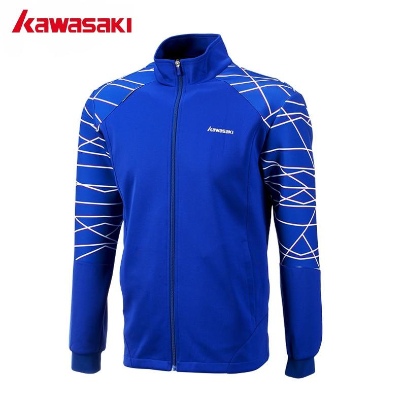 מותג קוואסאקי Windproof מעילי ספורט לגברים סתיו מעיל בדמינטון טניס לנשימה למנוע אלקטרוסטטי כחול JK-171805