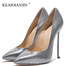 KEAIQIANJIN Golden Silver Woman's High Heels Shoes Woman Wedding Pumps Sexy Plus Size Party Flock High Heels Shoes Pointed Toe cocoafoal woman silver high heels shoes stiletto plus size 33 43 44 wedding silver gold pumps pointed toe sexy valentine shoes