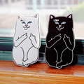 2017 Hot Cartoon Cute Cat Phone Case Cover One-finger Salute Phone Shell for iPhone smart phone