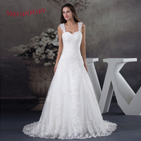 NIXUANYUAN 2017 New Elegant Appliques Beaded Bride Wedding Gown A Line long Wedding Dress 2017 Tulle vestido de noiva With Strap