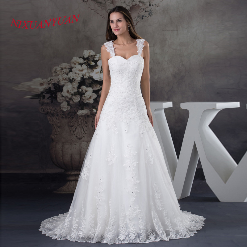 Black Friday 2015 NIXUANYUAN 2017 New Elegant Appliques Beaded Bride Wedding Gown A Line Long Dress Tulle Vestido De Noiva With Strap Best