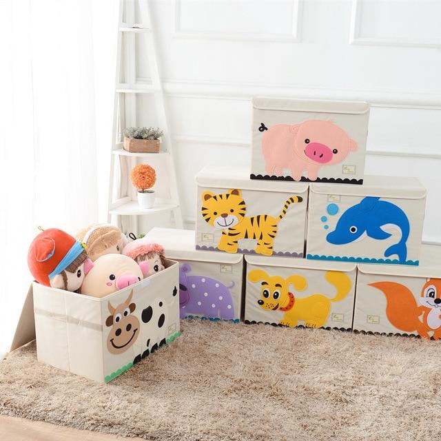 New Children Cartoon Large Storage Box Animal Embroidery Bins Kids Toys Organizer Folding Portable With Lid