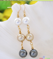12MM White Black Champagne Round South Sea Shell Pearl DANGLE EARRING 14K Plated