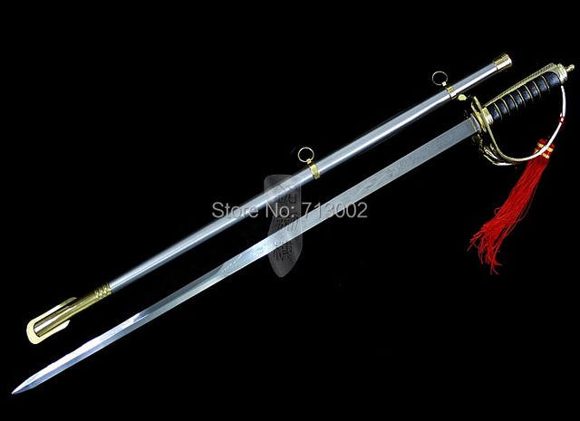 US $144 79 |Aliexpress com : Buy National flag guard sword steel blade  three army ceremonial command Saber European sword from Reliable tachi  sword