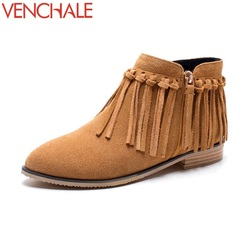 Venchale 2017 ankle boots frankness casual solid tassel leisure grind arenaceous convenient zipper round toe women.jpg 250x250