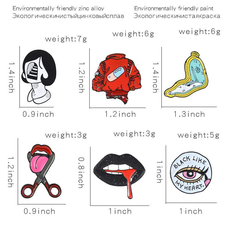 ผู้หญิง Face Enamel Pins เซ็กซี่สีดำริมฝีปากตัดลิ้นป้ายสีแดง Pill เสื้อ Twisted นาฬิกา Lapel Pins เข็มกลัดสำหรับผู้หญิงเครื่องประดับหญิง