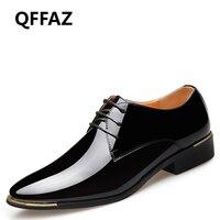 QFFAZ New Men S Quality Patent Leather Business Shoes Black Wedding Shoes Zapatos De Hombre Soft