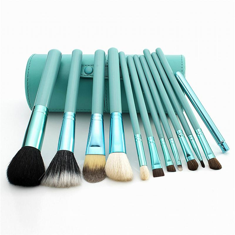 Makeup Brush 12PCS Cosmetic Set powder/kabuki/contour brush with Holder make up Brushes Goat Hair new nar mizubake kabuki brush top quality nature goat hair contour makeup brush