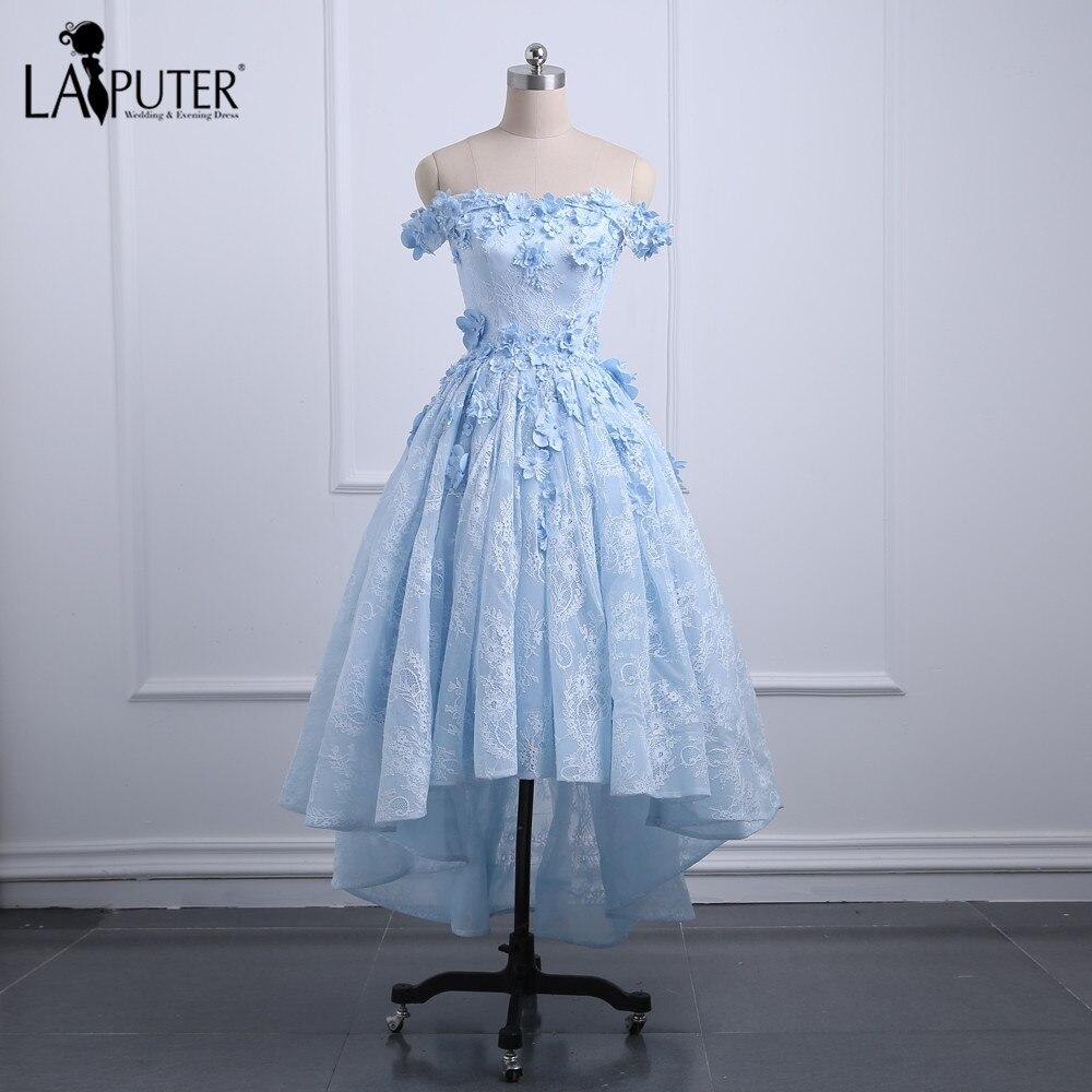 US $12.12 12% OFFHigh Low Ice Blue Abendkleid Türkische Abendkleider  Schatz Spitze Prom Kleider 12 Appliques 12D Floral Drapierte Party  Kleidblue