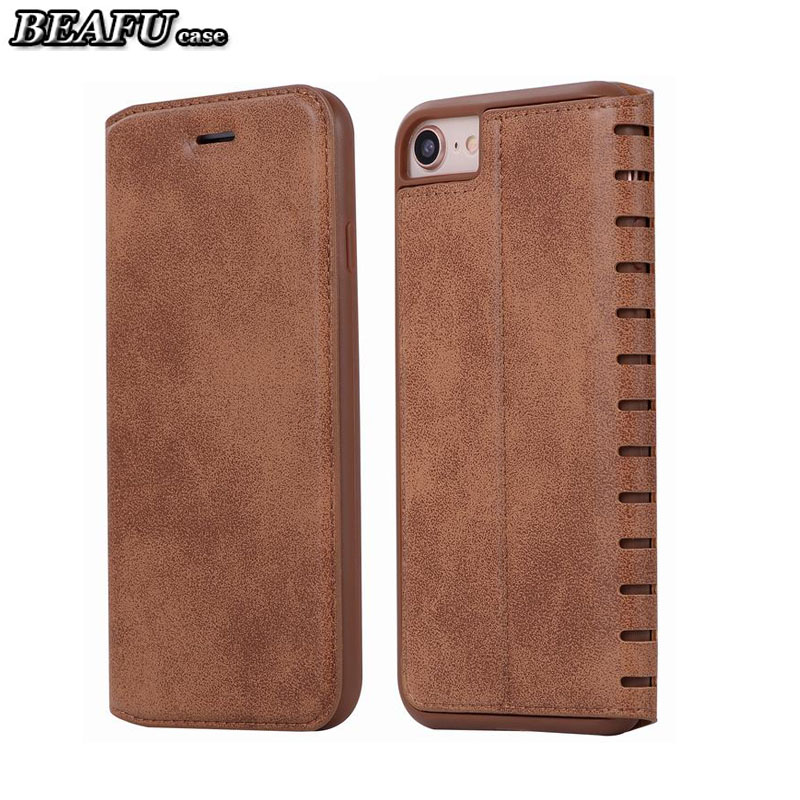 For iPhone 8 Luxury Case Flip Cover iPhone 7 8 Plus Case Leather Wallet Book Design Vintage Phone Cover With Stand Holder Coque
