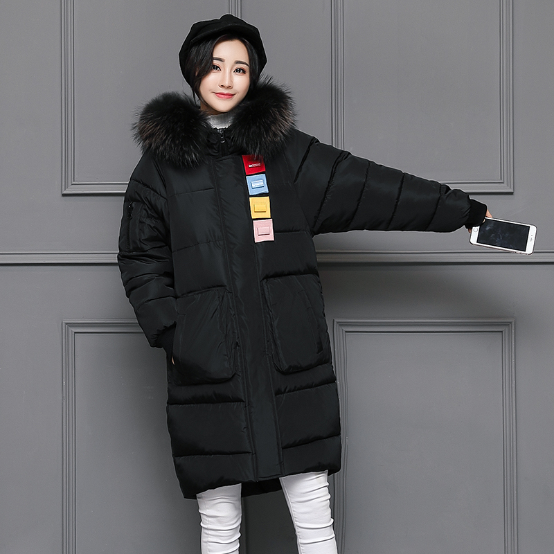 2017 winter wadded jacket female medium-long plus size mm thickening large fur collar  coat cotton-padded outerwear linenall women s parkas cotton and linen medium long wadded jacket outerwear female plus size vintage cotton padded jacket ym