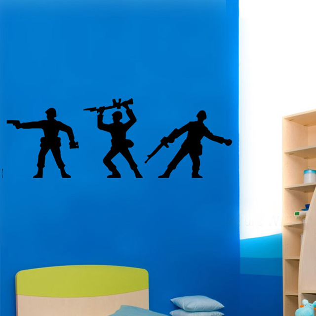 Toy Soliders Cool Boys Wallpaper Stickers For Nursery Kids Room Fashion Pattern Wall Decals Bedroom Vinyl