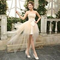 2014 New Hot Sale Short Front Long Back Bridesmaid Dresses Wedding Party Dress Evening Bride Ball