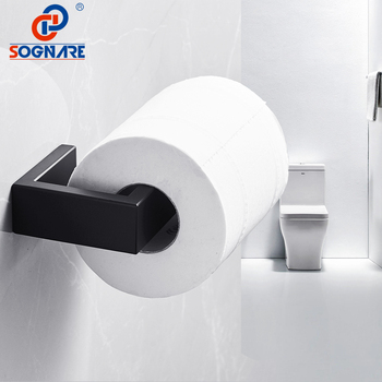 SOGNARE 304 Stainless Steel Toilet Paper Holder Black Matte Tissue Wall Mounted Roll Bathroom Accessories
