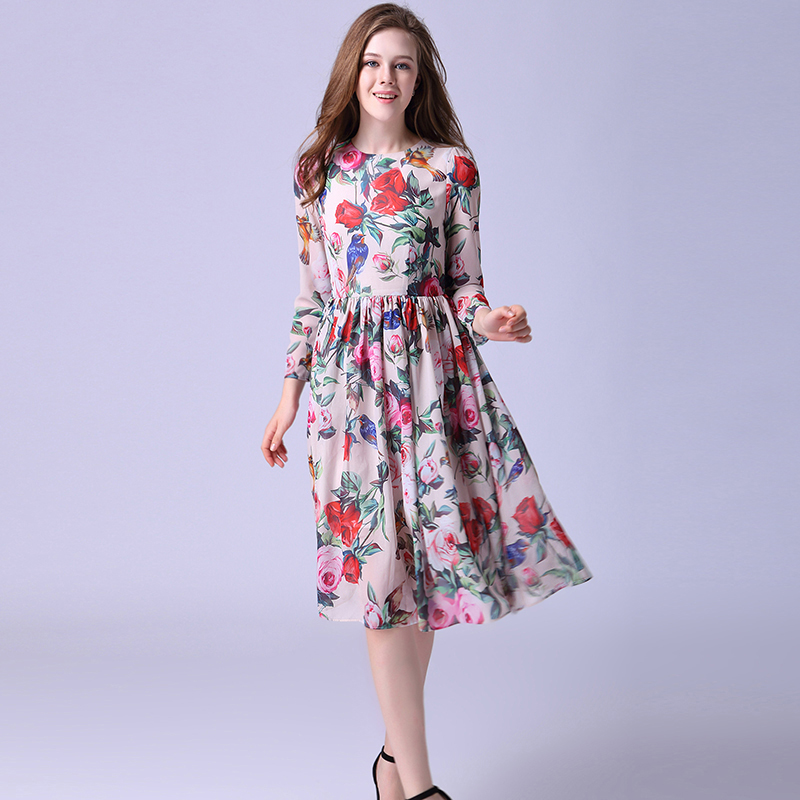 3b08b7ca4724f US $76.4 |Casual Dress New 2019 Summer European Fashion Long Sleeve High  Quality Luxury Knee Length Rose Print Pink Dress-in Dresses from Women's ...